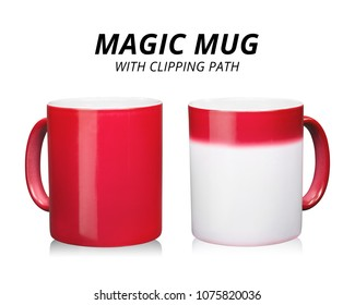 Red coffee mug isolated on white background. Template of ceramic container for drink. Changing color when hot temperature. ( Clipping path )