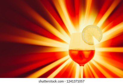 red cold drink against a multicolored glowing light background