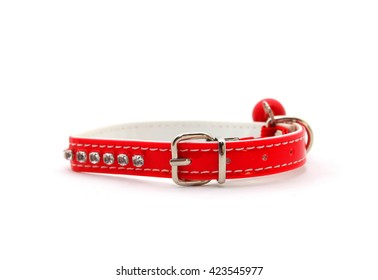 Red Collar for cat isolated on white background
