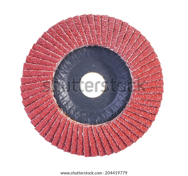 Red color abrasive flap disc isolated on white background