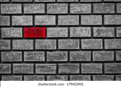 red color brick in an all gray wall