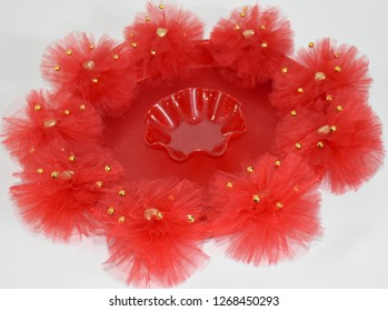 Red color bride and groom basket gauze model