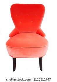 Red color chair designer comfort, soft and modern chair, velvet chair isolated on white background with clipping path.