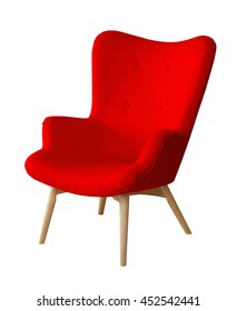 Red color chair isolated. Designer stool on white background, textile chair cut out. Series of colorful furniture