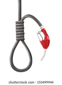 Red color gun from the fuel pump with looped hose shaped as gallows isolated on white