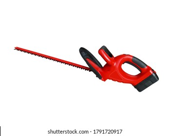 Red color hedge trimmer for cutting hedges, shrubs and bushes (gardening tool isolated on white background)