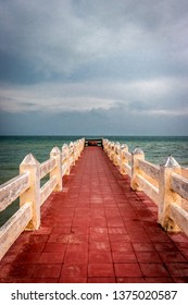 Red color leading line towards sweet pond near sea shore at sita kund rameswaram india.