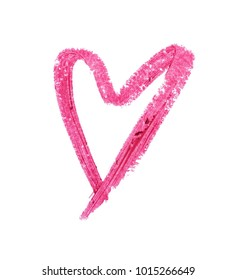Red color lipstick paint in heart shape on background