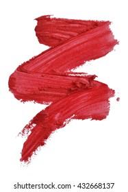 Red color lipstick smudge zigzag stroke on white