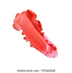 Red color lipstick stroke for make up as sample of cosmetic product isolated on white background