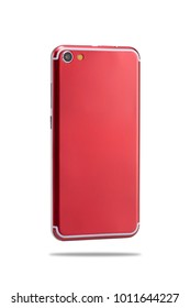 red color smartphone isolated on white background