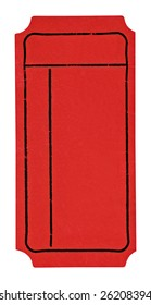 Red colored blank admission ticket on an isolated white background. This is a high resolution scan showing all the detail.