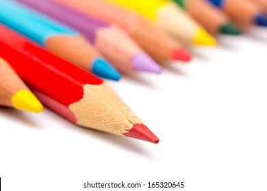 Red Coloring Pencil Different From The Crowd Stepping Up