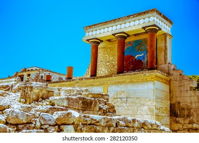 Red column gallery of  legendary Knossos palace, Crete, Greece