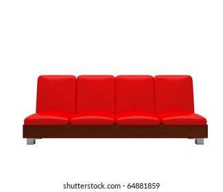 red comfortable sofa isolated on white