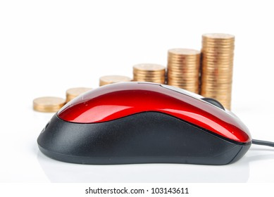 Red computer mouse and golden coin
