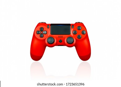 Red console gamepad isolated on a white background