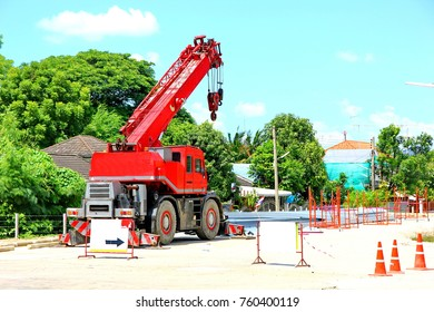 red construction crane in in construction  site