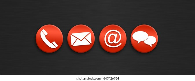 Red Contact us icons on a dark background