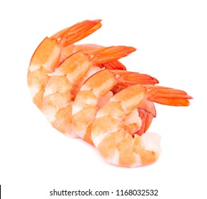 Red cooked tiger shrimps isolated on white background