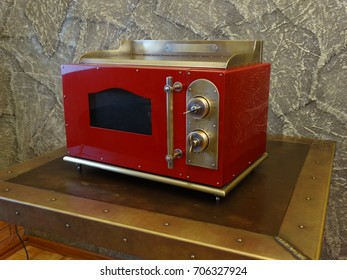 Red copper microwave oven retro style