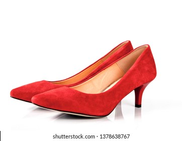 Red coral kitten heel women shoes isolated on white background
