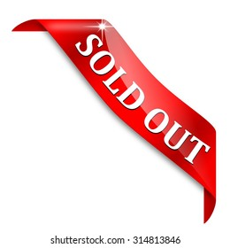 Red corner ribbon with the inscription - Sold out - Illustration