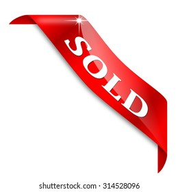 """Red corner ribbon with the word """"Sold""""  - Illustration"""