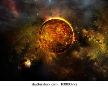 Red cosmic planet