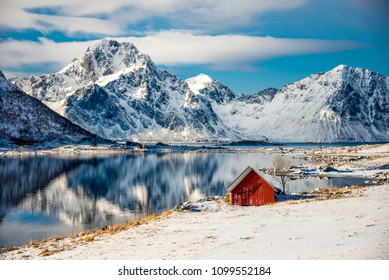 Red cottage near the water in Lofoten, Norway