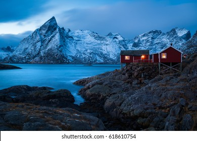 Red Cottage In Winter, Lofoten, Norway