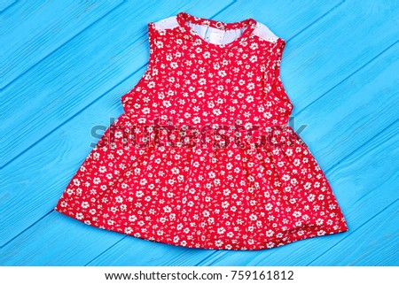 3d0f5015efbc Red cotton baby-girl summer dress. Beautiful infant girl dress with pattern  of white