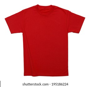 Red Cotton Shirt with Copy Space Isolated on White Background.