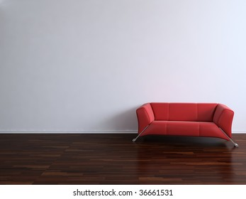 Red Couch to face a blank wall