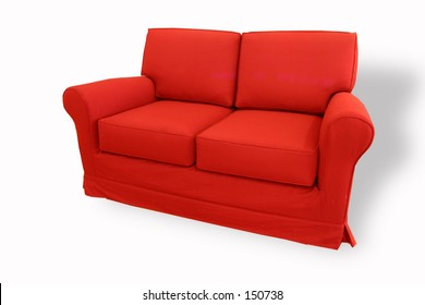 red couch on white background