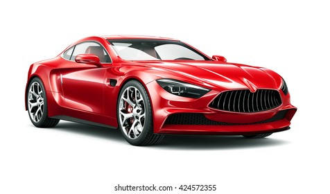 Red Coupe Car   3D Render On White