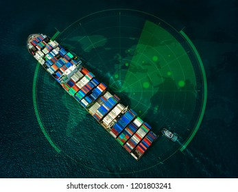 Red cover Container ship in export and import business and logistics in the ocean. Water transport International. Aerial view