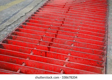 Red cover drainage gutters.