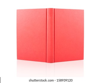 red cover opened book isolated on white background