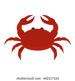 Red crab icon flat isolated on white background  illustration