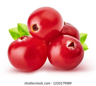 Red cranberry isolated on white background.