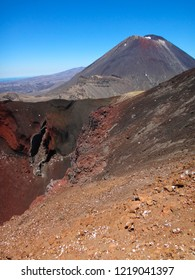 Red crater and Mount Ruapehu (also known as Mount Doom) in Tongariro National Park, North island of New Zealand