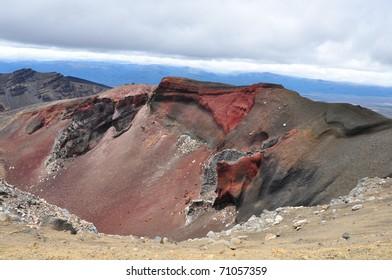 red crater on volcano Ngauruhoe, New Zealand