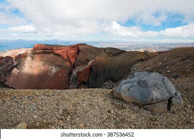 Red Crater, scenic view from top of Tongariro Alpine Crossing, New Zealand