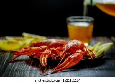 Red crayfish with lemon. Close-up macro. In the background, beer is poured into a glass.