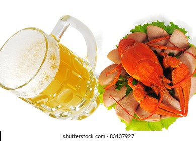 The Red crayfish on saucer and mug of beer. The White background. Isolated.With shade.