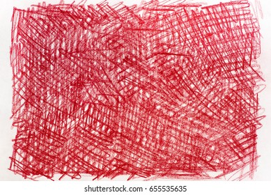 red crayon drawings on white paper background texture