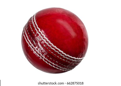 red cricket ball isolated on white