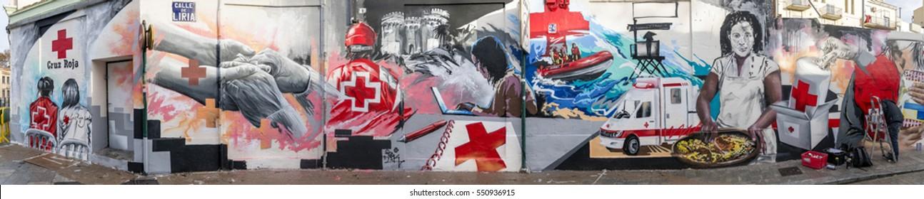 Red Cross Graffiti, Valencia, Spain