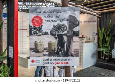 The Red Cross Organisation On The VT Wonen & Design Exhibition Making People Aware Of The Importance Of Clean Water At Amsterdam The Netherlands 2018
